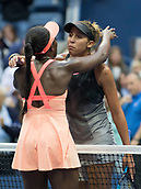 9th September 2017, FLushing Meadows, New York, USA;  Sloan Stephens (USA) and Madison Keys (USA) embrace at the net after Stephens defeated Keys to win the US Open Women's Singles title  at the USTA Billie Jean King National Tennis Center in Flushing Meadow, NY.