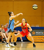 29th December 2019; Bendat Basketball Centre, Perth, Western Australia, Australia; Womens National Basketball League Australia, Perth Lynx versus Canberra Capitals; Abby Cubillo of the Canberra Capitals passes the ball into attack - Editorial Use