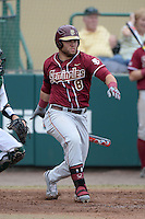 Florida State Seminoles outfielder DJ Stewart (8) during a game against the South Florida Bulls on March 5, 2014 at Red McEwen Field in Tampa, Florida.  Florida State defeated South Florida 4-1.  (Mike Janes/Four Seam Images)