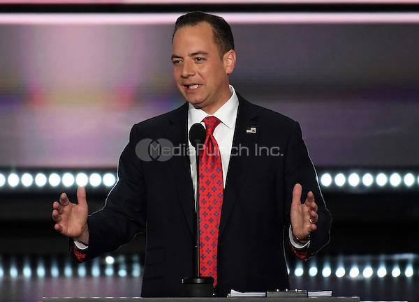 Reince Priebus, RNC Chairman, calls the 2016 Republican National Convention to oder at the Quicken Loans Arena in Cleveland, Ohio on Monday, July 18, 2016.<br /> Credit: Ron Sachs / CNP/MediaPunch<br /> (RESTRICTION: NO New York or New Jersey Newspapers or newspapers within a 75 mile radius of New York City)