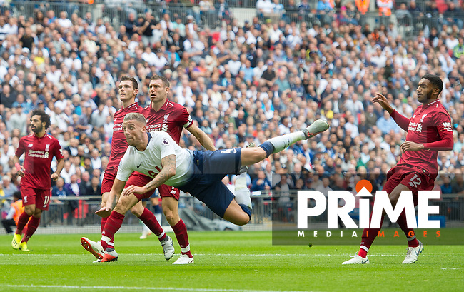 Tottenham's Toby Alderweireld during the Premier League match between Tottenham Hotspur and Liverpool at Wembley Stadium, London, England on 15 September 2018. Photo by Andrew Aleksiejczuk / PRiME Media Images.
