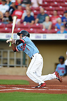Cedar Rapids Kernels shortstop Engelb Vielma (1) at bat during a game against the Quad Cities River Bandits on August 19, 2014 at Perfect Game Field at Veterans Memorial Stadium in Cedar Rapids, Iowa.  Cedar Rapids defeated Quad Cities 5-3.  (Mike Janes/Four Seam Images)