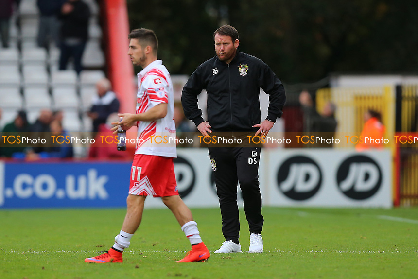 Disappointment for Stevenage manager Darren Sarll at the final whistle during Stevenage vs Plymouth Argyle, Sky Bet EFL League 2 Football at the Lamex Stadium on 8th October 2016