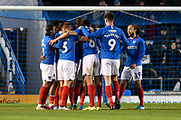 Portsmouth players mob goalscorer Ben Close of Portsmouth during Portsmouth vs Altrincham, Emirates FA Cup Football at Fratton Park on 30th November 2019