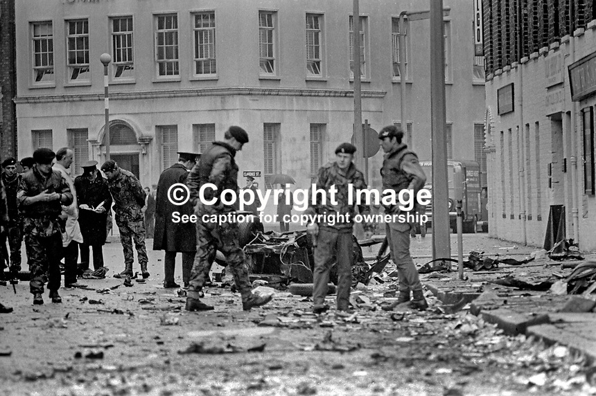 Scene of Provisional IRA car bomb explosion at rear of the BBC building in Ormeau Avenue, Belfast, N ireland, 12th May 1972. Whilst damage was widespread there were no serious injuries. 197205120231b<br />