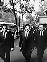 France  1963 .Paris: Boulevard St.Michel, from left to right, Zozik Rowanduzi, student , Jalal Talabani and Nouri Talabany, student, on their way to visit King Hussein of Jordan , during his official visit to Paris.France 1963.Paris: Boulevard St. Michel, de gauche a droite, Zozik Rowanduzi, etudiant en droit, Jalal Talabani, de passage en France et Nouri Talabany, etudiant en droit, se rendant au Crillon pour voir le roi Hussein de Jordanie