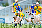 Daniel Collins Kilmoyley in action against Brian McAuliffe Lixnaw in the Kerry County Senior Hurling championship Final between Kilmoyley and Lixnaw at Austin Stack Park on Sunday.