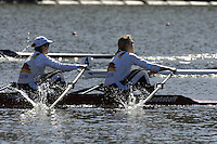 Seville. SPAIN, 18.02.2007, GER W2X, bow Manuela LUZTE and Susanne SCHMIDT, competing in Sundays final, at the FISA Team Cup, held on the River Guadalquiver course. [Photo Peter Spurrier/Intersport Images]    [Mandatory Credit, Peter Spurier/ Intersport Images]. , Rowing Course: Rio Guadalquiver Rowing Course, Seville, SPAIN,