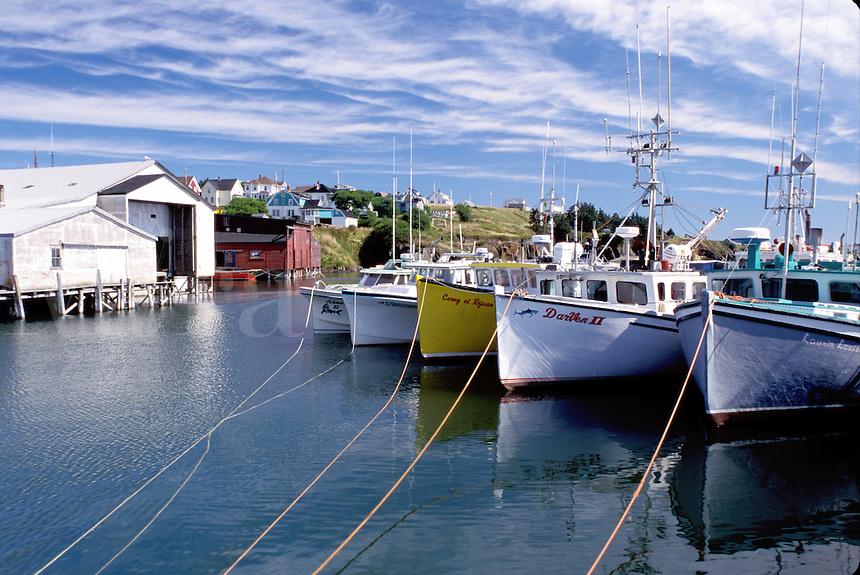 Nova Scotia, Cape St. Mary, NS, Canada, Fishing boats docked in St. Mary's Bay on Cape St. Mary on the Atlantic Ocean.
