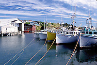Nova Scotia, Cape St. Mary, NS, Canada, Fishing boats docked in St. Mary's Bay on Cape St. Mary on the Atlantic Ocean.