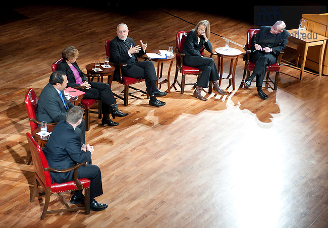 "September 28, 2011; From left to right, Professor David Campbell, Juan Rangel, CEO for the United Neighborhood Organization, Randi Weingarten, president of the American Federation of Teachers, AFL-CIO, Bishop Gerald F. Kicanas and Wendy Kopp, CEO and founder of Teach For America and Rev. Timothy R. Scully, C.S.C. participate in a discussion titled, ""The Conversation: Developing the Schools Our Children Deserve"" part of the 2011-12 Notre Dame Forum at the Leighton Concert Hall. Photo by Barbara Johnston/University of Notre Dame"