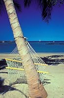 An empty fishnet hammock strung between two palm trees on a deserted white sand beach with the blue ocean steps away creates the idyllic tropical moment.
