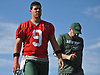 Bryce Petty #9 of the New York Jets, left, prepares to speak to the media after the first team practice of training camp at the Atlantic Health Jets Training Center in Florham Park, NJ on Saturday, July 29, 2017.