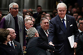 Former Canadian Prime Minister Brian Mulroney shakes hands with former President George W. Bush during the State Funeral for former President George H.W. Bush at the National Cathedral, Wednesday, Dec. 5, 2018, in Washington.<br /> Credit: Alex Brandon / Pool via CNP