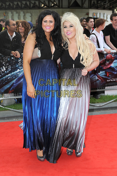 Two Shoes - Lucy Texeira & Charley bird.'The Amazing Spider-Man' UK film premiere, Odeon Leicester Square cinema, London, England..June 18th, 2012.full length black blue silver dress x factor.CAP/BEL.©Tom Belcher/Capital Pictures.