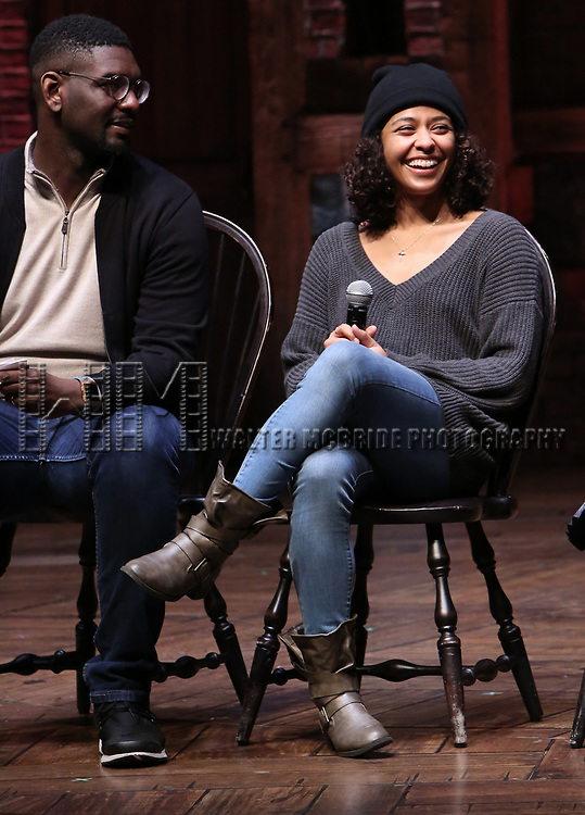"Carvens Lissaint and Sasha Hollinger during The Rockefeller Foundation and The Gilder Lehrman Institute of American History sponsored High School student #eduHam matinee performance of ""Hamilton"" Q & A at the Richard Rodgers Theatre on December 5,, 2018 in New York City."
