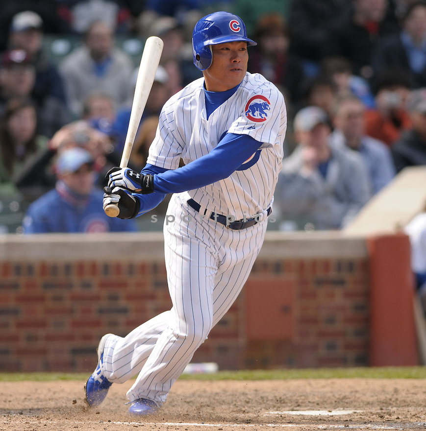 KOSUKE FUKUDOME, of the Chicago Cubs, in action during the Cubs game against the Houston Astros in Chicago, IL  on April 4, 2008...Cubs win 4-3...CHRIS BERNACHHI / SPORTPICS..