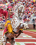 Florida State mascot Osceola riding Renegade in the end zone after a touchdown against South Florida in an NCAA college football game in Tallahassee, Fla., Saturday, Sept. 12, 2015. The FSU Seminoles defeated the South Florida Bulls 34-14.
