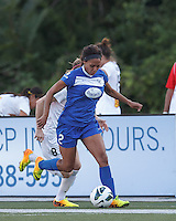 Boston Breakers forward Sydney Leroux (2) dribbles down the wing as Western New York forward pressures. In a National Women's Soccer League (NWSL) match, Boston Breakers (blue) tied Western New York Flash (white), 2-2, at Dilboy Stadium on August 3, 2013.