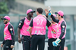 Chris Carter of Hung Hom JD Jaguars (R) celebrates with his teammates during the Hong Kong T20 Blitz match between Hung Hom JD Jaguars and HKI United at Tin Kwong Road Recreation Ground on March 09, 2017 in Hong Kong, Hong Kong. Photo by Chris Wong / Power Sport Images
