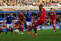 1st February 2020; St Andrews, Birmingham, Midlands, England; English Championship Football, Birmingham City versus Nottingham Forest; Lewis Grabban of Nottingham Forest misses a penalty in the 41st minute