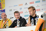 The Hague, Netherlands, June 10: Dean Couzins #8 of New Zealand and head coach Colin Batch of New Zealandduring press conference after the field hockey group match (Men - Group B) between New Zealand and The Netherlands on June 10, 2014 during the World Cup 2014 at Kyocera Stadium in The Hague, Netherlands. Final score 1-1 (0-1) (Photo by Dirk Markgraf / www.265-images.com) *** Local caption ***
