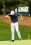 CROMWELL, CT. 21 June 2019-062119 - PGA Tour player Bryson DeChambeau jumps away from his putt on the par 3 eighth hole as he is attacked by an insect that clings to his leg, during the second round of the Travelers Championship at the TPC River Highlands in Cromwell on Thursday. Bill Shettle Republican-American