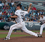 Reno Aces starter Charles Brewer throws against the Sacramento River Cats during their game on Monday night July 30, 2012 at Aces Ballpark in Reno, Nevada.