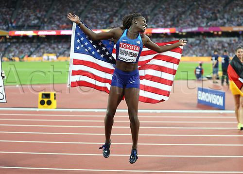 August 12th 2017, London Stadium, East London, England; IAAF World Championships, Day 9; Dawn Harper Nelson of USA jumps in the air in celebration after finishing in 2nd place in the 100 metres hurdles women final