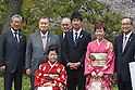(L-R) Tsunekazu Takeda, Yoshiro Mori, Haruka Kitaura, Mitsunori Torihara, Yoshihide Kiryu, Kasumi Ishikawa, Motoi Oyama, <br /> APRIL 6, 2015 : <br /> Asics has Press conference in Tokyo. <br /> Asics announced that it has entered into a partnership agreement with the Tokyo Organising Committee of the Olympic and Paralympic Games. With this agreement, Asics becomes the gold partner. <br /> (Photo by AFLO SPORT)