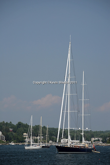 Sailboat in Boothbay Harbor, Lincoln County, Maine, USA
