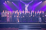 The celebrity golfers pose for  a team photo at the gala dinner.<br /> The Celebrity Cup 2015<br /> Celtic Manor Resort<br /> <br /> 04.07.15<br /> &copy;Steve Pope - SPORTINGWALES