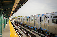 """A test train, right, consisting of new R179 subway cars runs along the elevated portion of the """"A"""" line in Queens in New York on Wednesday, November 2, 2016. manufactured by Bombardier, partially in upstate Plattsburgh, New York, the cars will eventually replace the comparatively ancient R32 cars from 1964 on the A, C, M, J, and Z lines. ( © Richard B. Levine)"""