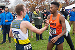 LOUISVILLE, KY - NOVEMBER 18: Justin Knight #615 of Syracuse University shakes hands with Matthew Baxter #426 of Northern Arizona University during the Division I Men's Cross Country Championship held at E.P. Tom Sawyer Park on November 18, 2017 in Louisville, Kentucky. (Photo by Tim Nwachukwu/NCAA Photos via Getty Images)