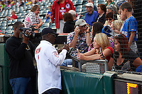 Buffalo major Byron Brown signs autographs before a Buffalo Bisons game against the Pawtucket Red Sox  on August 28, 2015 at Coca-Cola Field in Buffalo, New York.  Pawtucket defeated Buffalo 7-6.  (Mike Janes/Four Seam Images)