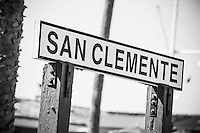 Wood Sign of San Clemente at the Pier Black and White Stock Photo