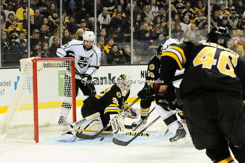 January 20, 2014 - Boston, Massachusetts, U.S. - Boston Bruins goalie Chad Johnson (30) makes a save during the NHL game between Los Angeles Kings and the Boston Bruins held at TD Garden in Boston Massachusetts. The Bruins defeated the Kings 3-2 in regulation time.   Eric Canha/CSM