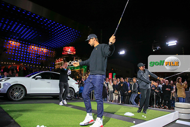 Thomas Pieters (BEL) and Patrick Reed (USA) at the Porsche Urban Golf Challenge in the Reeperbahn the famous Red light district in Hamburg ahead of the Porsche European Open at Green Eagles Golf Club, Luhdorf, Winsen, Germany. 03/09/2019.<br /> Picture Fran Caffrey / Golffile.ie<br /> <br /> All photo usage must carry mandatory copyright credit (© Golffile | Fran Caffrey)