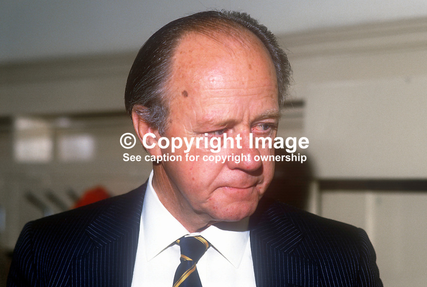 Sir Ian McLeod, JP, prominent member, Conservative Party, UK, May, 1986, 19860504IML<br /> <br /> Copyright Image from Victor Patterson, 54 Dorchester Park, <br /> Belfast, UK, BT9 6RJ<br /> <br /> t1: +44 28 9066 1296 (from Rep of Ireland 048 9066 1296)<br /> t2: +44 28 9002 2446 (from Rep of Ireland 048 9002 2446)<br /> m: +44 7802 353836<br /> <br /> e1: victorpatterson@me.com<br /> e2: victorpatterson@gmail.com<br /> <br /> www.victorpatterson.com<br /> <br /> Please see my Terms and Conditions of Use at VICTORPATTERSON.COM. It is IMPORTANT that you familiarise yourself with them.<br /> <br /> Images used on the Internet must be visibly watermarked i.e. &copy;VICTORPATTERSON.COM within the body of the image and copyright metadata must not be deleted. Images used on the Internet have a size restriction of 4kbs and are chargeable at the then current NUJ rates.<br /> <br /> This image is only available for the use of the download recipient i.e. television station, newspaper, magazine, book publisher, etc, and must not be passed on to any third party. It is also downloaded on condition that each and every usage is notified within 7 days to victorpatterson@me.com<br /> <br /> The right of Victor Patterson to be identified as the author is asserted in accordance with The Copyright Designs And Patents Act (1988).