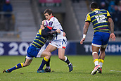 9th December 2017, AJ Bell Stadium, Salford, England; European Rugby Challenge Cup, Sale Sharks versus Cardiff Blues; Sale Sharks' AJ MacGinty is tackled