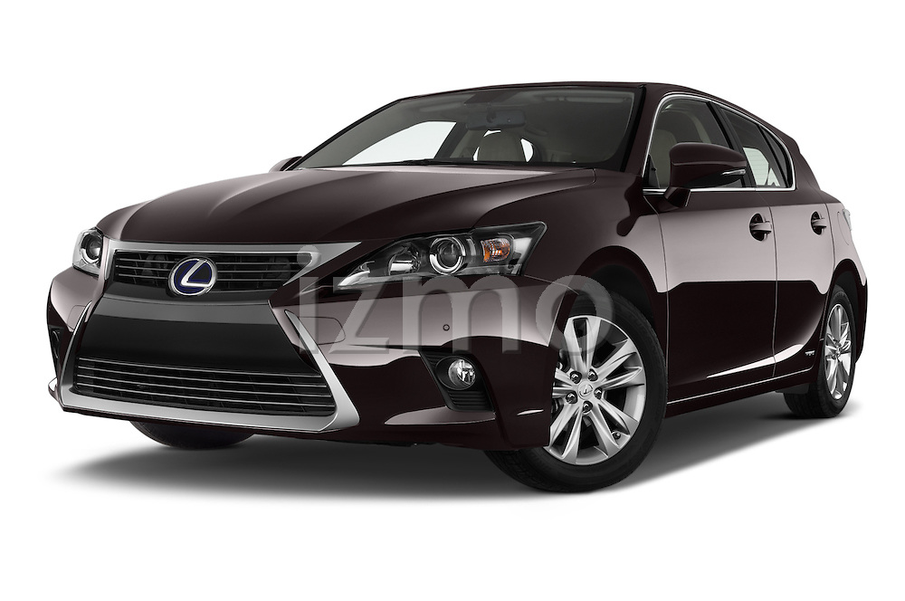 Stock pictures of low aggressive front three quarter view of a 2015 Lexus CT Executive 5 Door Hatchback 2WD Low Aggressive