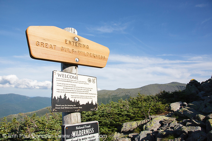 Entering Great Gulf Wilderness sign along the Six Husbands Trail in Thompson and Meserve's Purchase, New Hampshire during the summer months; part of the Presidential Range in the White Mountains.