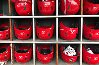 General view of the Memphis Redbirds batting helmets before game against the Round Rock Express on April 28, 2017 at AutoZone Park in Memphis, Tennessee.  Memphis defeated Round Rock 9-1.  (Mike Janes/Four Seam Images)