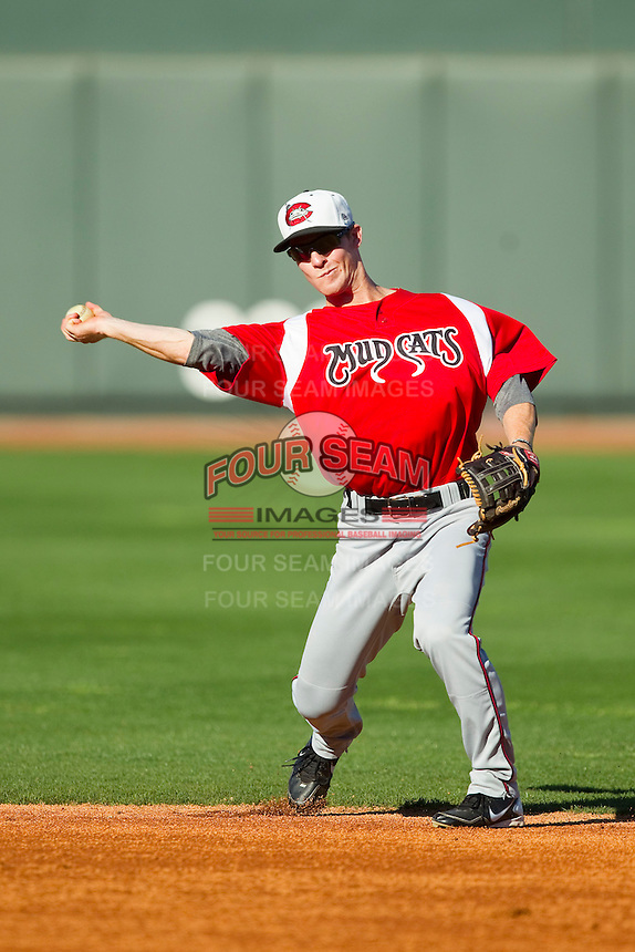 Carolina Mudcats second baseman Joey Wendle (13) during batting practice prior to the game against the Winston-Salem Dash at BB&T Ballpark on April 13, 2013 in Winston-Salem, North Carolina.  The Dash defeated the Mudcats 4-1.  (Brian Westerholt/Four Seam Images)