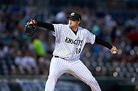 Charlotte Knights relief pitcher Caleb Frare (19) in action against the Toledo Mud Hens at BB&T BallPark on April 23, 2019 in Charlotte, North Carolina. The Knights defeated the Mud Hens 11-9 in 10 innings. (Brian Westerholt/Four Seam Images)