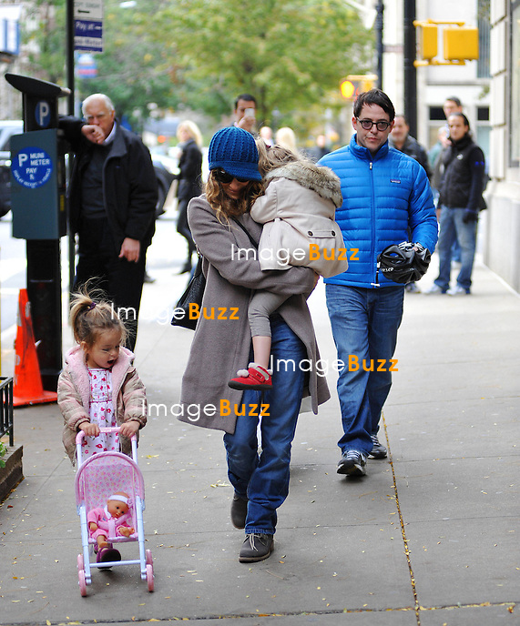 Sarah Jessica Parker, Matthew Broderick and twin daughters Tabitha and Marion on the Upper East Side of Manhattan after lunch at Nello's Restaurant in New York City, on November 2, 2012..