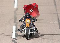 Feb 26, 2017; Chandler, AZ, USA; NHRA top fuel nitro Harley Davidson rider Mike Pelrine during the Arizona Nationals at Wild Horse Pass Motorsports Park. Mandatory Credit: Mark J. Rebilas-USA TODAY Sports