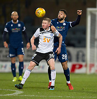 10th March 2020; Dens Park, Dundee, Scotland; Scottish Championship Football, Dundee FC versus Ayr United; Stephen Kelly of Ayr United competes in the air with Kane Hemmings of Dundee