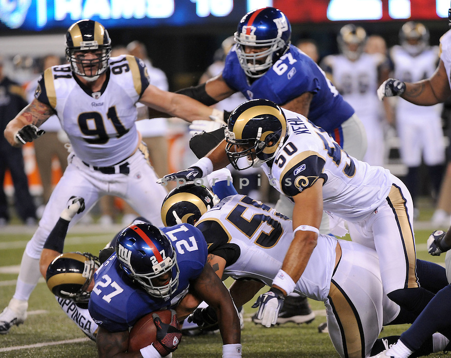 JAMES LAURINAITIS, of the St. Louis Rams, in action during the Rams game against the New York Giants on September 19, 2011 at MetLife Stadium in East Rutherford, NJ. The Giants beat the Rams 28-16.