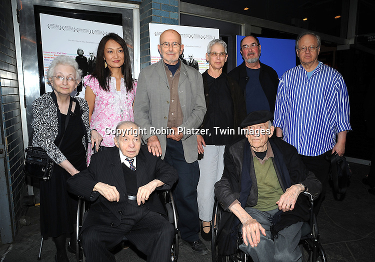Dorothy and Herb Vogel and director Megumi Sasaki and .Lucio Pozzi, Sylvia Plimack Mangold and Robert Mangold, .Robert Barry and Will Barnett in front